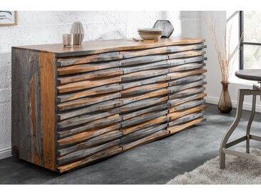 Massives Sideboard RELIEF 160cm Sheesham Holz grau smoke finish mit aufwändiger Front