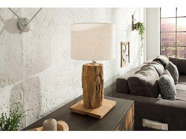 Höhenverstellbare Teakholz Tischlampe ROOTS 70cm beige Treibholz Lampe