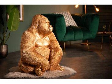 Detailgetreue Gorilla Figur KONG XL 75cm gold Affen-Skulptur aus Kunststein