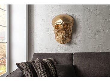 Exklusive Wandskulptur SKULL XXL 42cm gold Deko Totenkopf