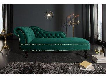 Chesterfield Recamiere 170cm smaragdgrün Samt mit Knopfheftung und Nietenbesatz