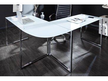 Exklusiver Design Eck-Schreibtisch BIG DEAL 180cm Glas weiß