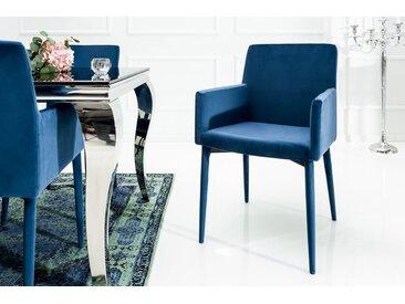 Eleganter Design Stuhl MILANO königsblau Samt mit Armlehne