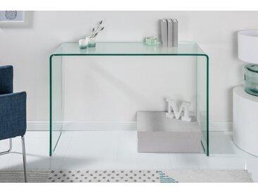 Extravaganter Glas Konsolentisch FANTOME 100cm transparent Schreibtisch Ganzglastisch Laptoptisch