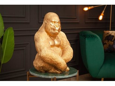 Detailgetreue Gorilla Figur KONG 39cm gold Affen-Skulptur aus Kunststein