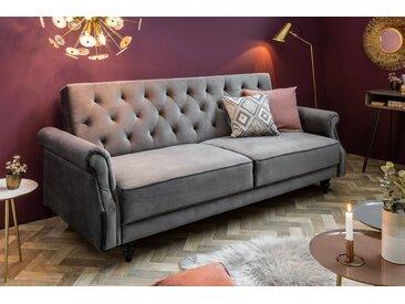 Chesterfield 3-Sitzer Sofa MAISON BELLE AFFAIRE 220cm grau Samt mit Schlaffunktion
