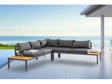 Große Garten Sitzgruppe MIAMI LOUNGE 240cm schwarz grau Gartenmöbel inkl. Kissen