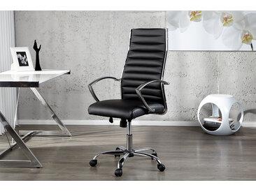 Höhenverstellbarer Bürostuhl BIG DEAL schwarz Chefsessel mit verchromten Armlehnen