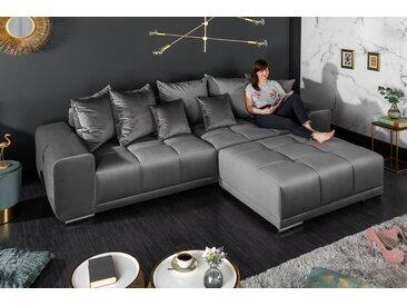 Extravagantes XXL Sofa ELEGANCIA 280cm silbergrau Samt inkl. Kissen Bigsofa