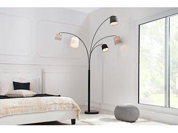 Design Bogenlampe LEVELS 200cm schwarz grau 5 Leinenschirme Stehlampe