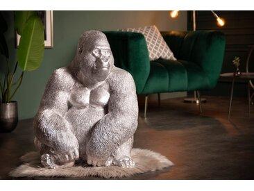 Detailgetreue Gorilla Figur KONG XL 75cm silber Affen-Skulptur aus Kunststein