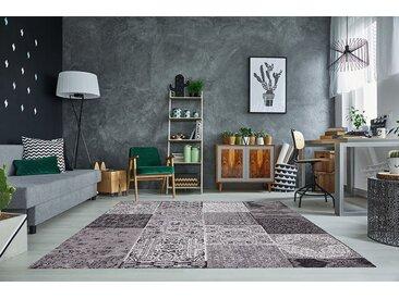 Orientalischer Patchwork Teppich MARRAKESCH 240x160cm anthrazit Baumwolle
