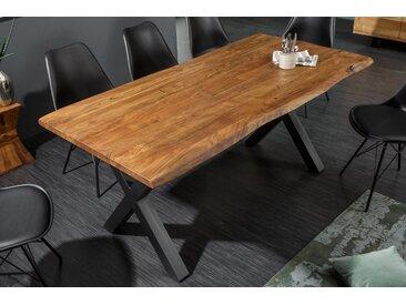 Massiver Baumstamm Esstisch MAMMUT NATURE 160cm Akazie 3,5cm dicke Platte Baumtisch