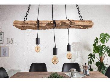 Industrial Hängelampe BARRACUDA 73cm recyceltes Massivholz mit 3 Leuchten