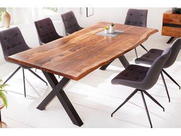 Massiver Baumkanten Esstisch AMAZONAS 220cm braun Sheesham mit X-Gestell Baumtisch