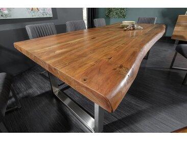 Massiver Baumstamm Esstisch MAMMUT NATURE 240cm Akazie 6cm Tischplatte Edelstahlbeine Baumtisch