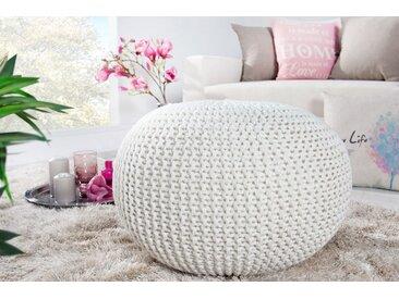 Design Strick Pouf LEEDS 50cm weiß Baumwolle handgearbeitetes Sitzkissen