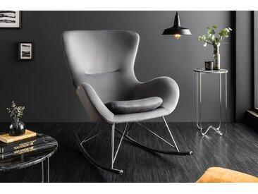 Design Schaukelstuhl SCANDINAVIA SWING grau Samt Chrom Schaukelsessel