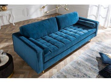 Elegantes Design 3er Sofa COZY VELVET 225cm aqua Samt Federkern