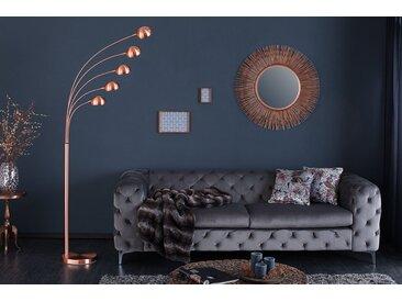 Design Bogenlampe FIVE LIGHTS 205cm kupfer Stehlampe Bogenleuchte
