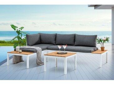 Outdoor Sitzgruppe ORLANDO LOUNGE 170cm weiß grau Set Stahl wetterfest