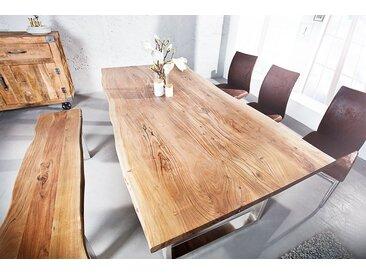 Massiver Baumstamm Esstisch MAMMUT 160cm Akazie 3,5cm Tischplatte Edelstahlbeine Baumtisch