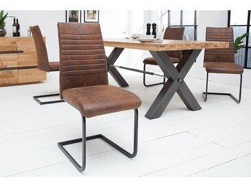 Industrial Freischwinger Stuhl APARTMENT antik braun mit Metallgestell