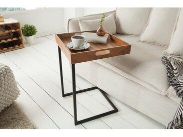 Design Beistelltisch CIANO 40cm Akazie Massivholz schwarz Tablett-Tisch