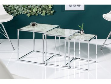 Design Beistelltisch 3er Set ELEMENTS 40cm weiß Glasplatten in Marmoroptik