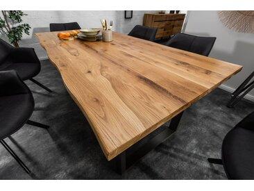 Massiver Baumkanten Esstisch LIVING EDGE 160cm Wildeiche geölt 3,5cm Tischplatte