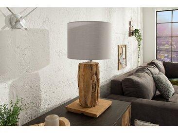 Höhenverstellbare Teakholz Tischlampe ROOTS 70cm grau Treibholz Lampe