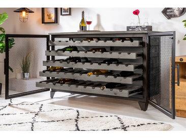 Industrial Weinschrank BODEGA 127cm recyceltes Pinienholz grau Weinregal für 55 Flaschen