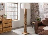 Handgearbeitete Stehlampe ROOTS 170cm aus Teakholz natur mit Leinenschirm