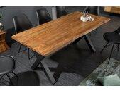 Massiver Baumstamm Esstisch MAMMUT NATURE 180cm Akazie 3,5cm dicke Platte Baumtisch