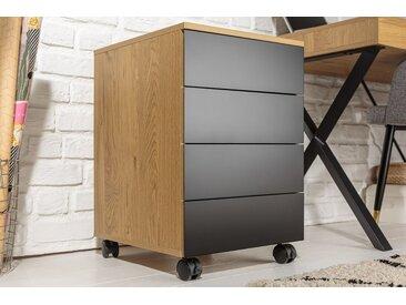Moderner Rollcontainer STUDIO 40cm Eichenoptik schwarz 4 Schubladen