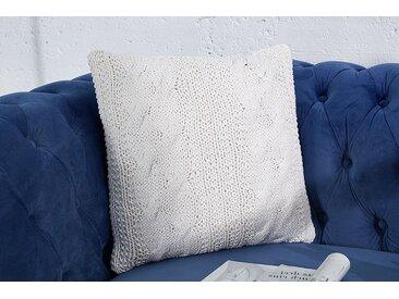 Handgearbeitetes Strick Kissen COSY II 45x45cm weiß Baumwolle Zierkissen