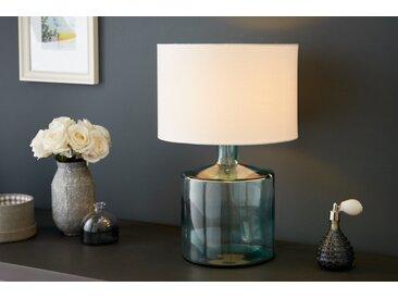 Elegante Tischleuchte CLASSIC II recyceltes Glas italienisches Design Leinenschirm
