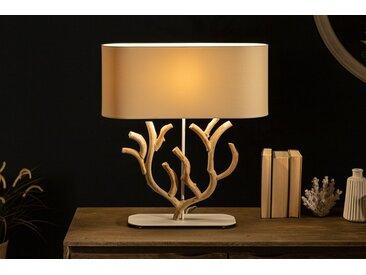 Handgefertigte Tischlampe KORALLE 58cm beige Bauhinien-Holz mit Leinenschirm