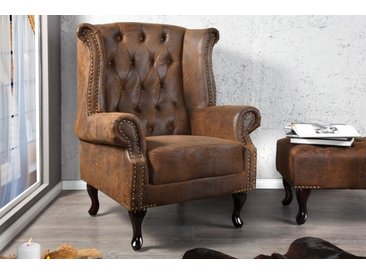 Chesterfield Sessel 85cm antik braun mit Knopfheftung und Federkern