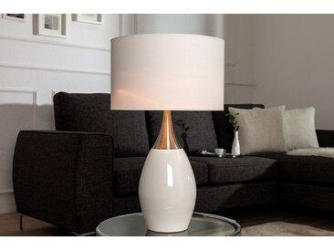 Moderne Tischlampe CARLA 60cm weiß silber mit Leinenschirm