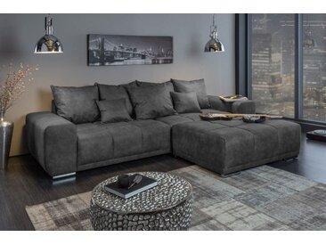 Extravagantes XXL Sofa ELEGANCIA 280cm grau inkl. Kissen Bigsofa