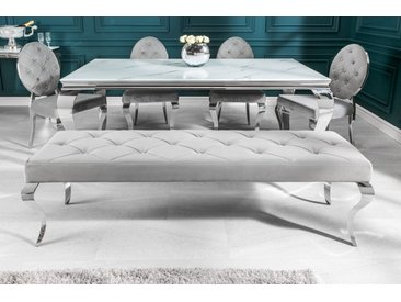Elegante Sitzbank MODERN BAROCK 172cm edel-grau Samt Edelstahl