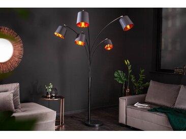 Design Bogenlampe LEVELS 202cm schwarz gold 5 neigbare Schirme Stehlampe