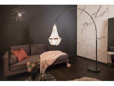 Höhenverstellbare Stehlampe ROYAL 204cm silber schwarz mit Kronleuchter