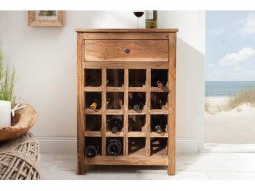 Massives Weinregal HEMINGWAY 56cm recyceltes Teakholz Weinschrank für 16 Flaschen
