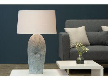 Filigrane Keramik Tischlampe DREAM 70cm blau mit Leinenschirm