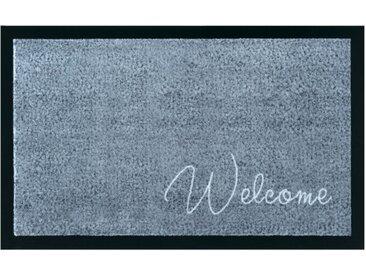 Strapazierfähige Fußmatte CLEAN WELCOME 75x45cm blau grau Fußabtreter Modern Design
