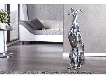 Elegante Windhund Skulptur GREYHOUND 70cm Aluminium Design Figur