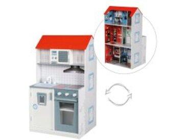 2in1 Feuerwehr-Spielhaus und Kinderküche aus Holz