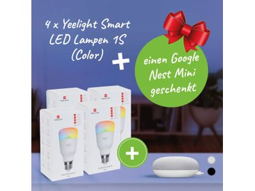 Yeelight | 4er Bundle Smart LED Lampen 1S (Color) + Google Nest Mini